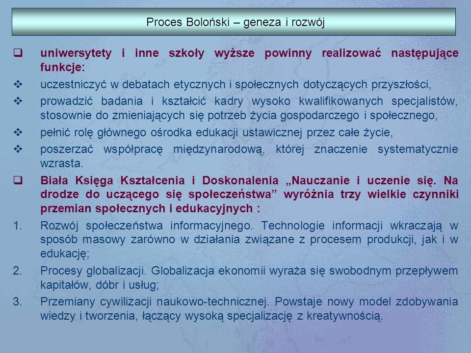 Deklaracja Bolońska 5) promocja współpracy europejskiej w zakresie zapewnienia jakości, w celu opracowania porównywalnych kryteriów i metodologii; 6) promocja niezbędnych europejskich wymiarów szkolnictwa wyższego, szczególnie pod względem rozwoju zawodowego, współpracy międzyinstytuycjonalnej, planów dotyczących mobilności oraz zintegrowanych programów nauczania, szkolenia i badań.