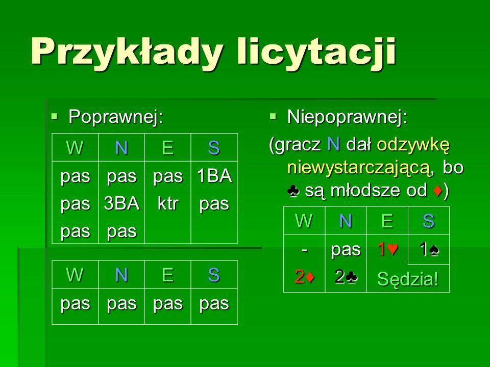 Przykłady licytacji Poprawnej: Poprawnej: Niepoprawnej: Niepoprawnej: (gracz N dał odzywkę niewystarczającą, bo są młodsze od ) WNES paspaspaspas3BApa