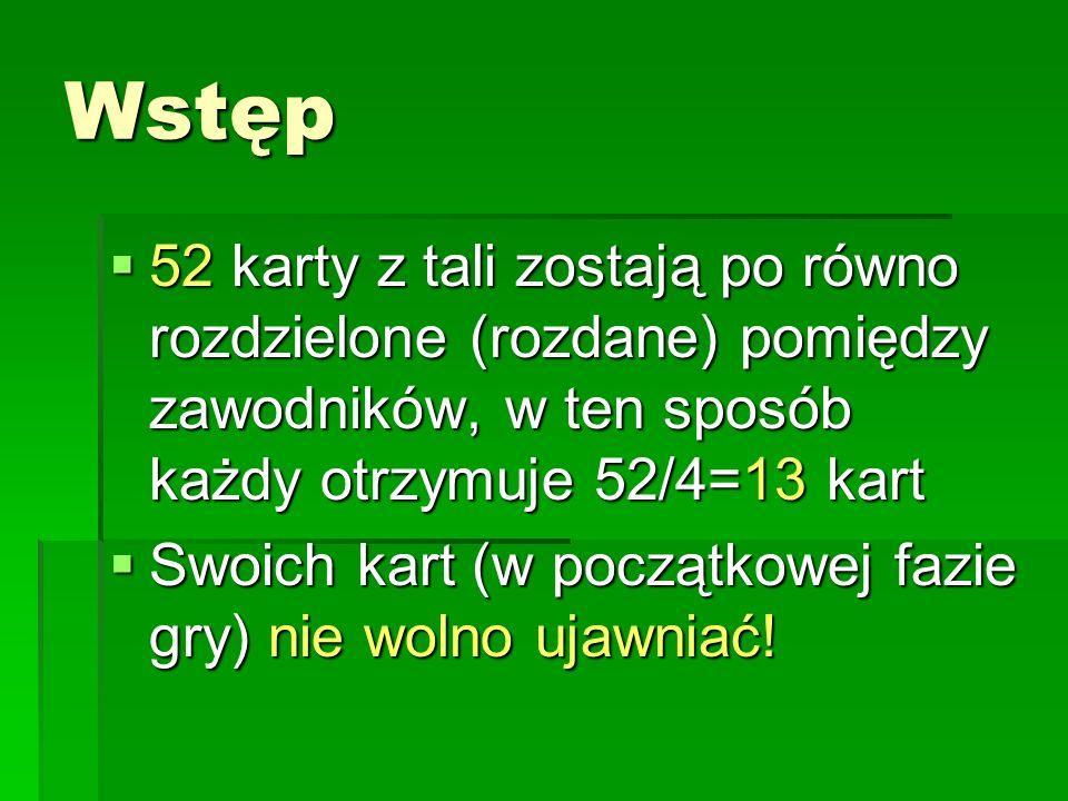 Fazy gry: Pojedyncze rozdanie składa się z następujących faz: Licytacji Licytacji Rozgrywki Rozgrywki Ustalenia i zapisania wyniku Ustalenia i zapisania wyniku