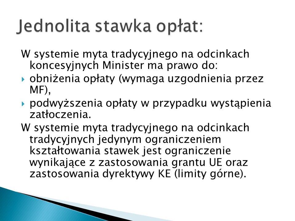 W systemie myta tradycyjnego na odcinkach koncesyjnych Minister ma prawo do: obniżenia opłaty (wymaga uzgodnienia przez MF), podwyższenia opłaty w prz