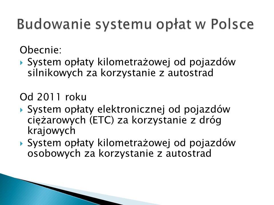 Obecnie: System opłaty kilometrażowej od pojazdów silnikowych za korzystanie z autostrad Od 2011 roku System opłaty elektronicznej od pojazdów ciężaro