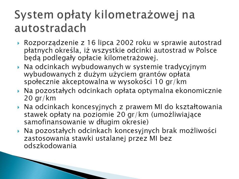 Rozporządzenie z 16 lipca 2002 roku w sprawie autostrad płatnych określa, iż wszystkie odcinki autostrad w Polsce będą podlegały opłacie kilometrażowe