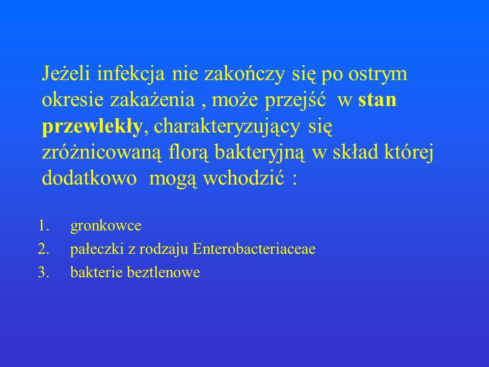 Bakterie beztlenowe : Prevotella Fusobacteria Peptostreptococcus Wirusy : synergia prosta odporność adhezja porażenie żęsek Czas Bakterie tlenowe : Streptococcus pneumoniae Haemophilus influenzae Moraxella catarrhalis inne Infekcje wirusowe i bakteryjne nakładają się na siebie