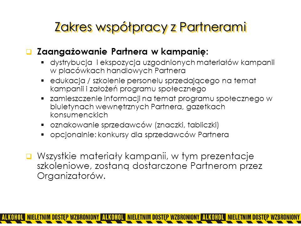 Zakres współpracy z Partnerami Zaangażowanie Partnera w kampanię: dystrybucja i ekspozycja uzgodnionych materiałów kampanii w placówkach handlowych Pa