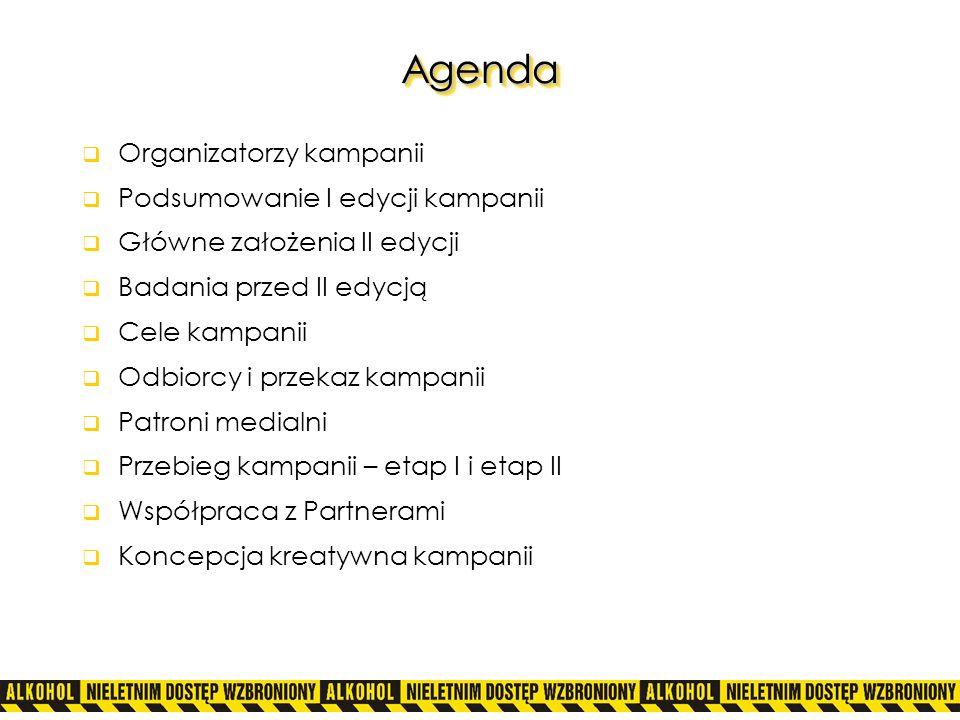 AgendaAgenda Organizatorzy kampanii Podsumowanie I edycji kampanii Główne założenia II edycji Badania przed II edycją Cele kampanii Odbiorcy i przekaz