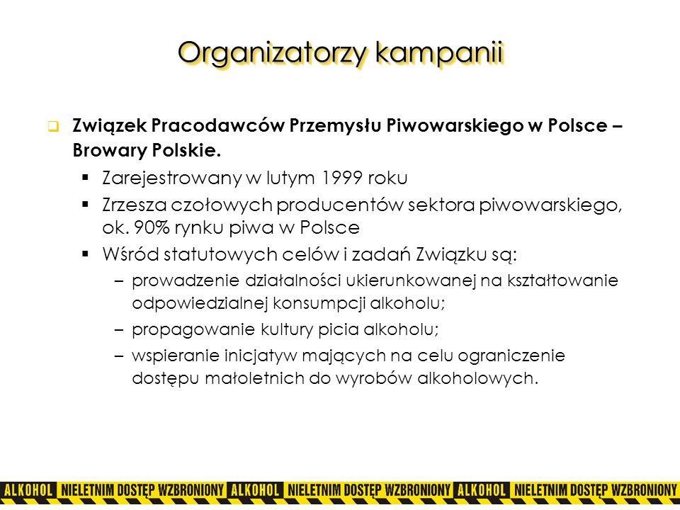 Organizatorzy kampanii Związek Pracodawców Przemysłu Piwowarskiego w Polsce – Browary Polskie. Zarejestrowany w lutym 1999 roku Zrzesza czołowych prod