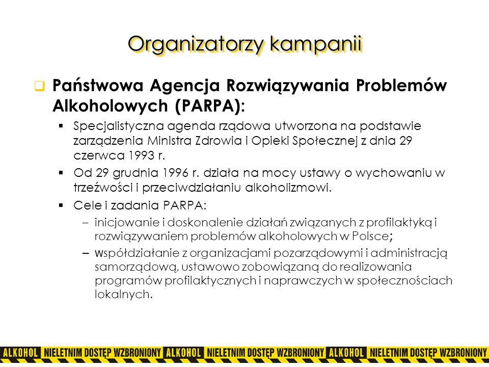 Organizatorzy kampanii Państwowa Agencja Rozwiązywania Problemów Alkoholowych (PARPA): Specjalistyczna agenda rządowa utworzona na podstawie zarządzen