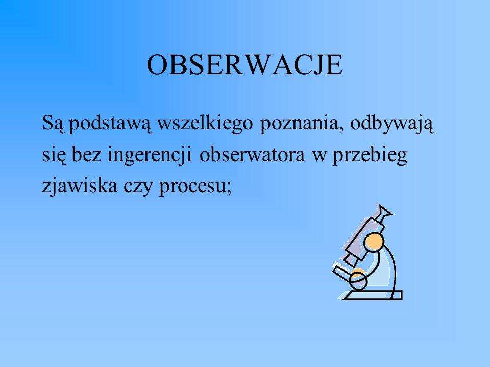 OBSERWACJE Są podstawą wszelkiego poznania, odbywają się bez ingerencji obserwatora w przebieg zjawiska czy procesu;