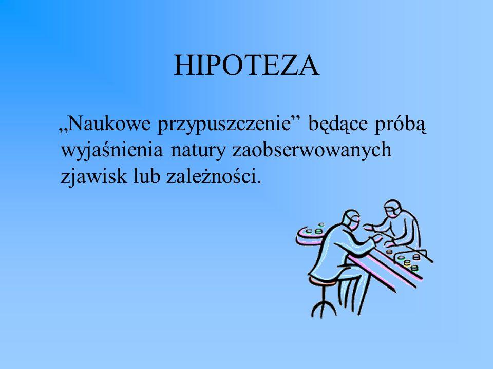 HIPOTEZA Naukowe przypuszczenie będące próbą wyjaśnienia natury zaobserwowanych zjawisk lub zależności.