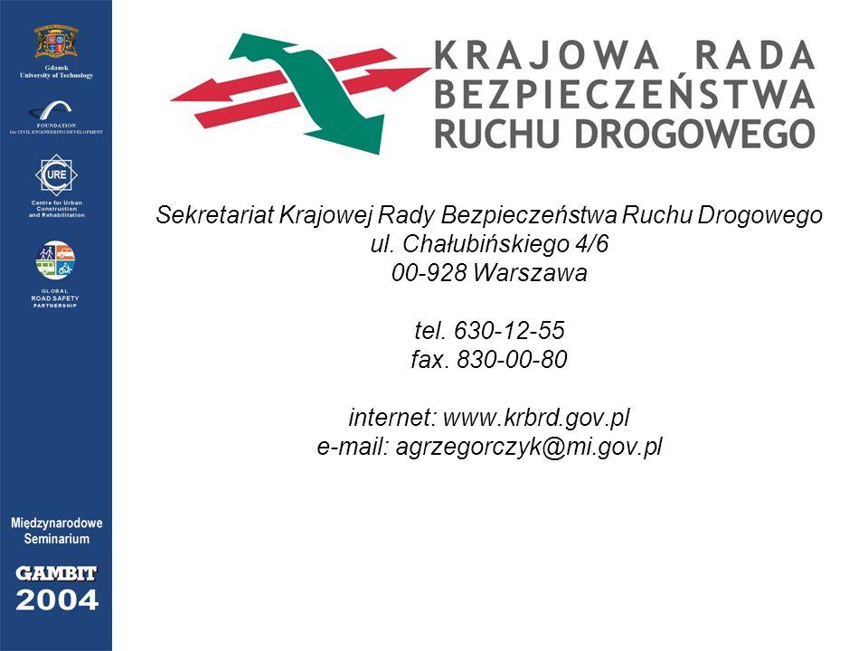Sekretariat Krajowej Rady Bezpieczeństwa Ruchu Drogowego ul. Chałubińskiego 4/6 00-928 Warszawa tel. 630-12-55 fax. 830-00-80 internet: www.krbrd.gov.