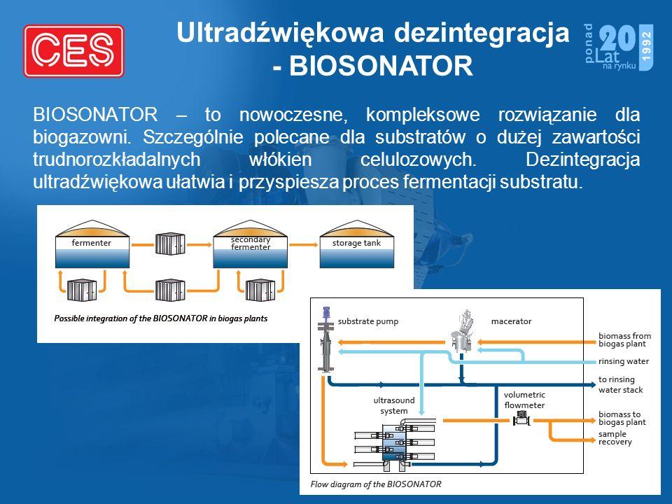 Ultradźwiękowa dezintegracja - BIOSONATOR BIOSONATOR – to nowoczesne, kompleksowe rozwiązanie dla biogazowni. Szczególnie polecane dla substratów o du