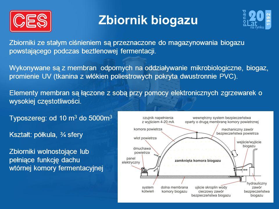 Zbiornik biogazu Zbiorniki ze stałym ciśnieniem są przeznaczone do magazynowania biogazu powstającego podczas beztlenowej fermentacji. Wykonywane są z