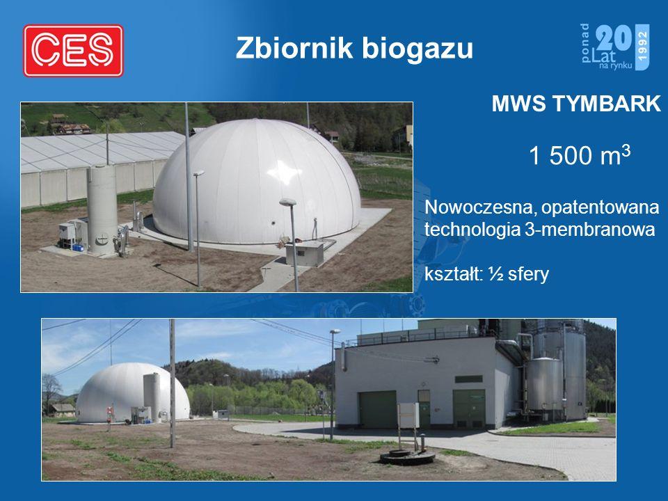 Zbiornik biogazu 1 500 m 3 MWS TYMBARK Nowoczesna, opatentowana technologia 3-membranowa kształt: ½ sfery