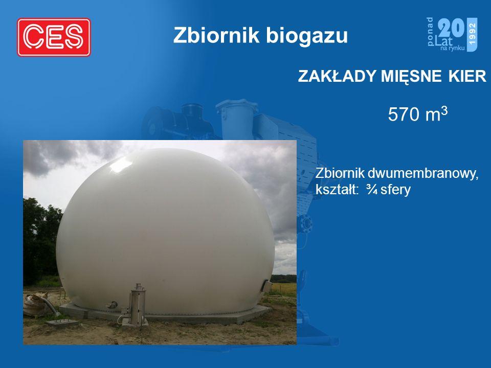 Zbiornik biogazu 570 m 3 ZAKŁADY MIĘSNE KIER Zbiornik dwumembranowy, kształt: ¾ sfery