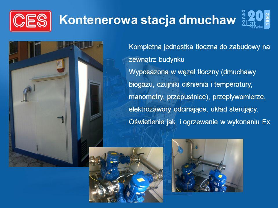 Kontenerowa stacja dmuchaw Kompletna jednostka tłoczna do zabudowy na zewnątrz budynku Wyposażona w węzeł tłoczny (dmuchawy biogazu, czujniki ciśnieni