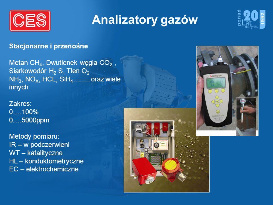Analizatory gazów Stacjonarne i przenośne Metan CH 4, Dwutlenek węgla CO 2, Siarkowodór H 2 S, Tlen O 2 NH 3, NO X, HCL, SiH 4.........oraz wiele inny