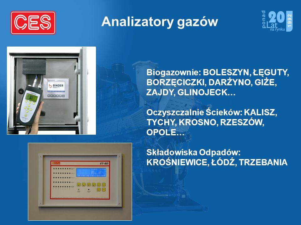 Analizatory gazów Biogazownie: BOLESZYN, ŁĘGUTY, BORZĘCICZKI, DARŻYNO, GIŻE, ZAJDY, GLINOJECK… Oczyszczalnie Ścieków: KALISZ, TYCHY, KROSNO, RZESZÓW,