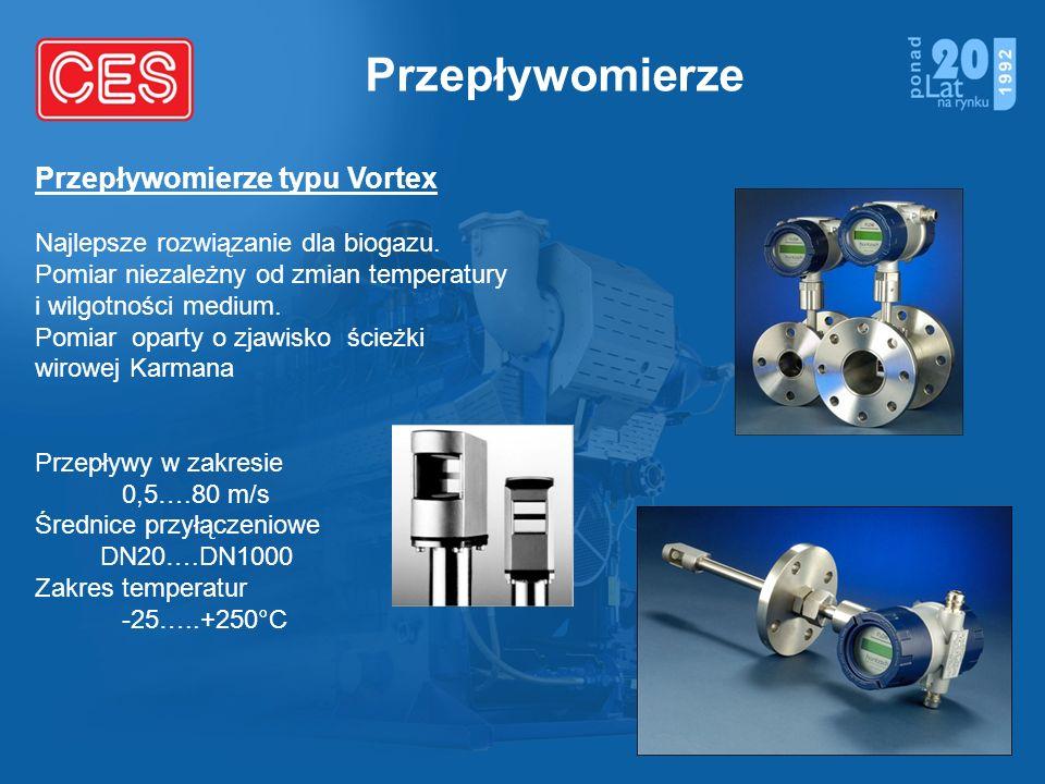 Przepływomierze Przepływomierze typu Vortex Najlepsze rozwiązanie dla biogazu. Pomiar niezależny od zmian temperatury i wilgotności medium. Pomiar opa