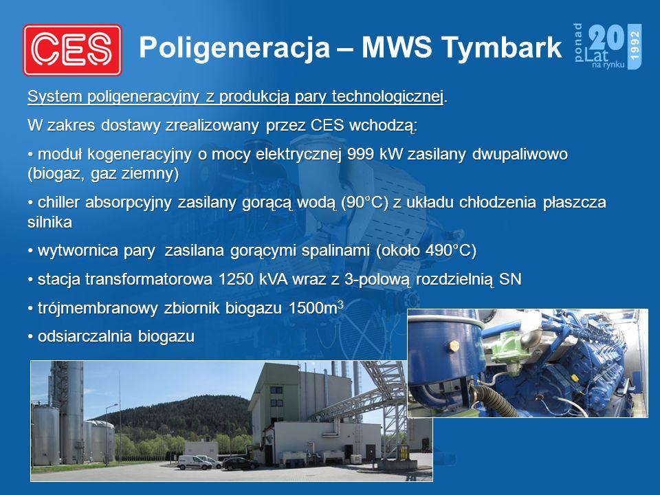 Poligeneracja – MWS Tymbark System poligeneracyjny z produkcją pary technologicznej. W zakres dostawy zrealizowany przez CES wchodzą: moduł kogeneracy