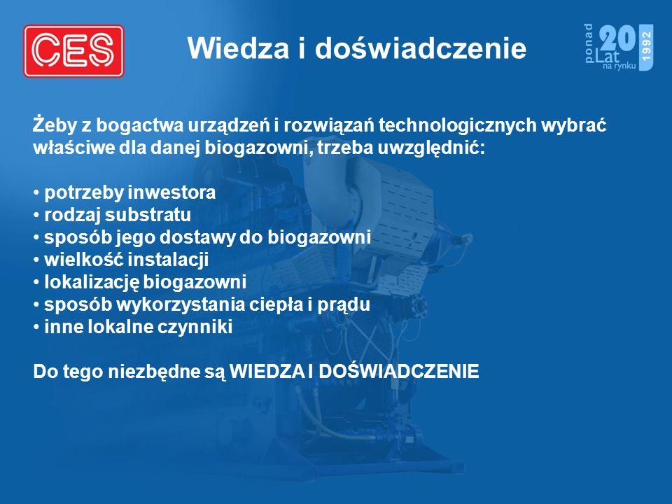 Wiedza i doświadczenie Żeby z bogactwa urządzeń i rozwiązań technologicznych wybrać właściwe dla danej biogazowni, trzeba uwzględnić: potrzeby inwesto