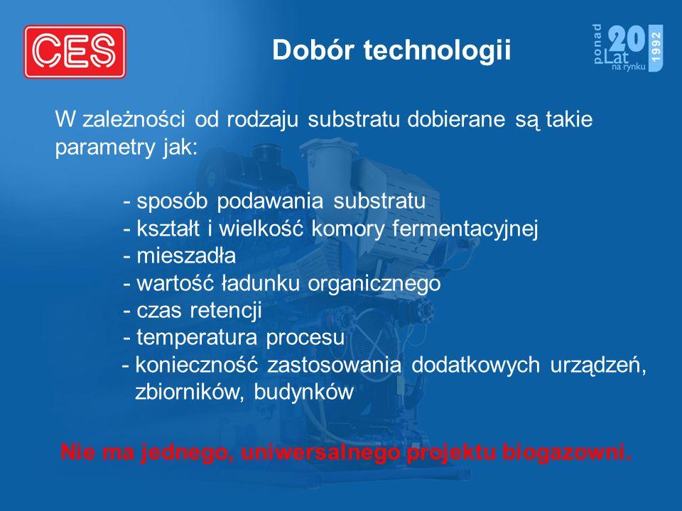 Dobór technologii W zależności od rodzaju substratu dobierane są takie parametry jak: - sposób podawania substratu - kształt i wielkość komory ferment