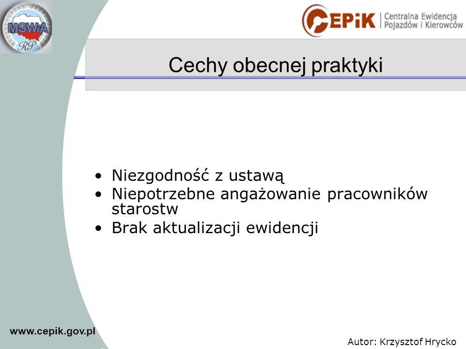 www.cepik.gov.pl Autor: Krzysztof Hrycko Cechy obecnej praktyki Niezgodność z ustawą Niepotrzebne angażowanie pracowników starostw Brak aktualizacji e