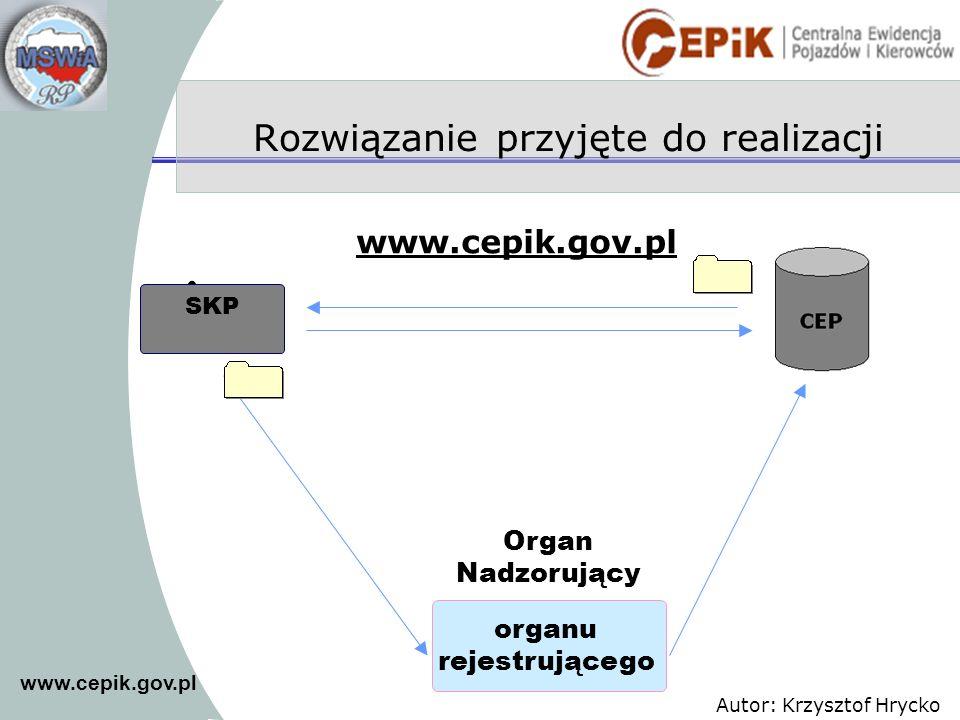 www.cepik.gov.pl Autor: Krzysztof Hrycko Rozwiązanie przyjęte do realizacji SKP organu rejestrującego Organ Nadzorujący www.cepik.gov.pl