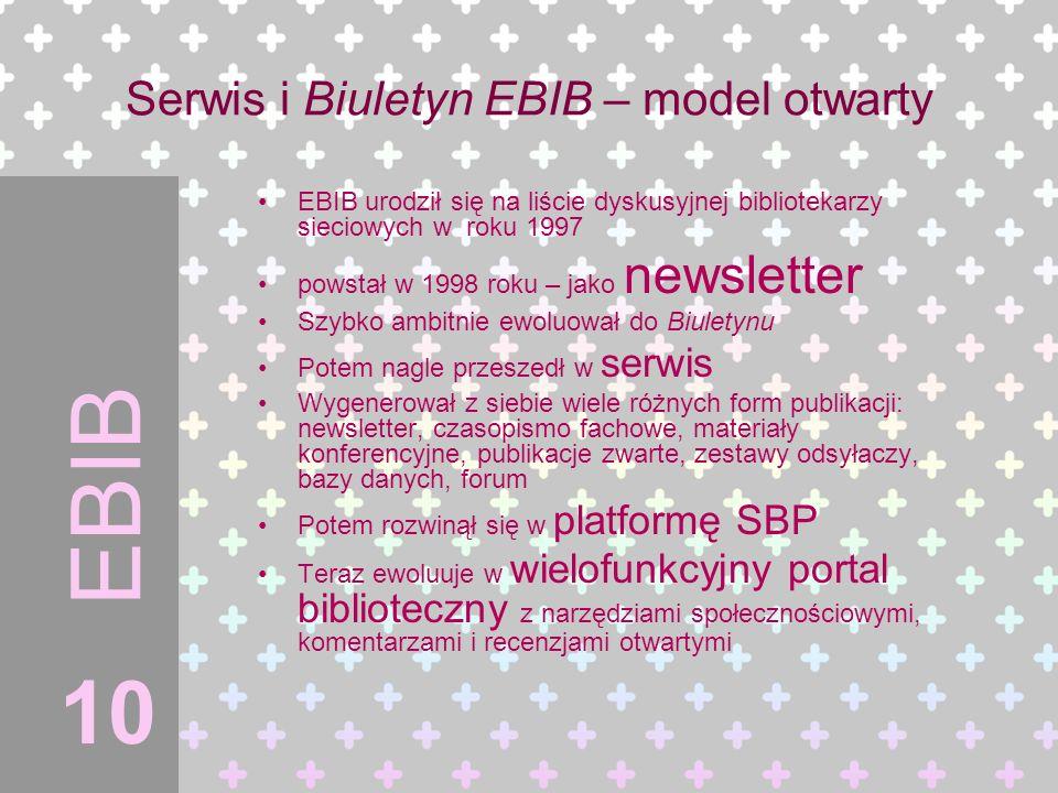 EBIB EBIB urodził się na liście dyskusyjnej bibliotekarzy sieciowych w roku 1997 powstał w 1998 roku – jako newsletter Szybko ambitnie ewoluował do Bi