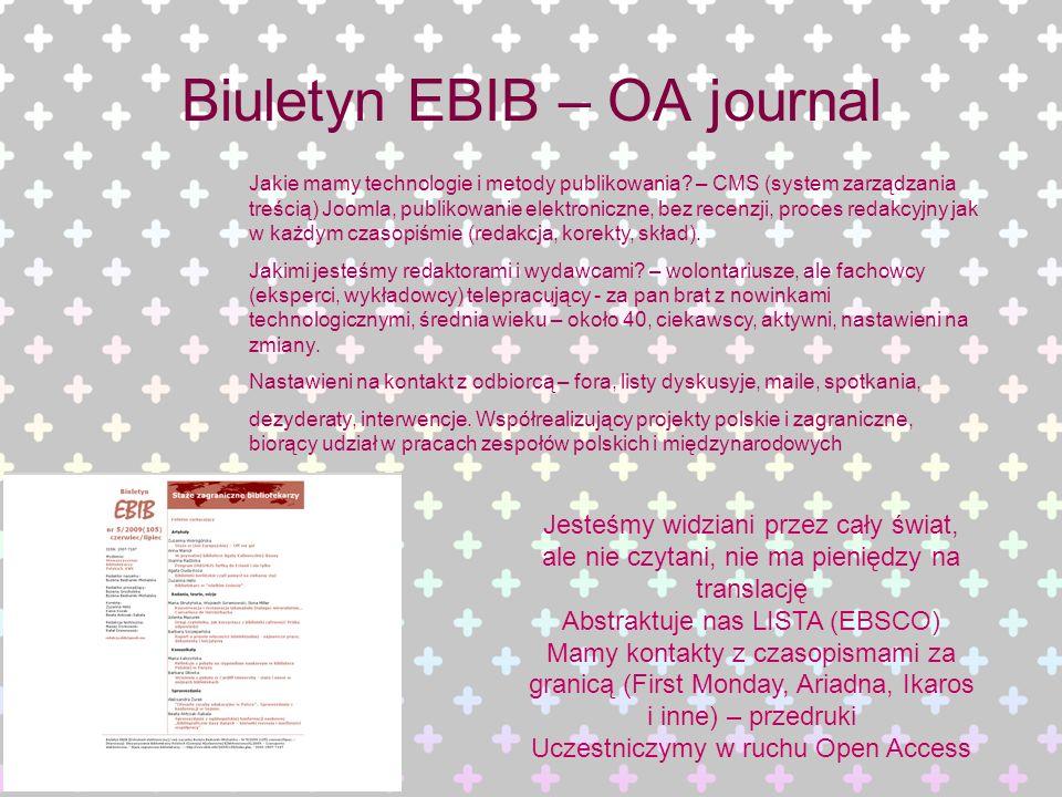 Biuletyn EBIB – OA journal Jakie mamy technologie i metody publikowania? – CMS (system zarządzania treścią) Joomla, publikowanie elektroniczne, bez re