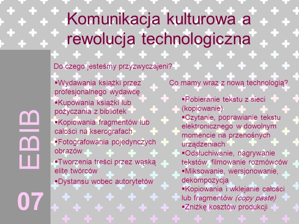 Komunikacja kulturowa a rewolucja technologiczna Wydawania książki przez profesjonalnego wydawcę Kupowania książki lub pożyczania z bibliotek Kopiowan
