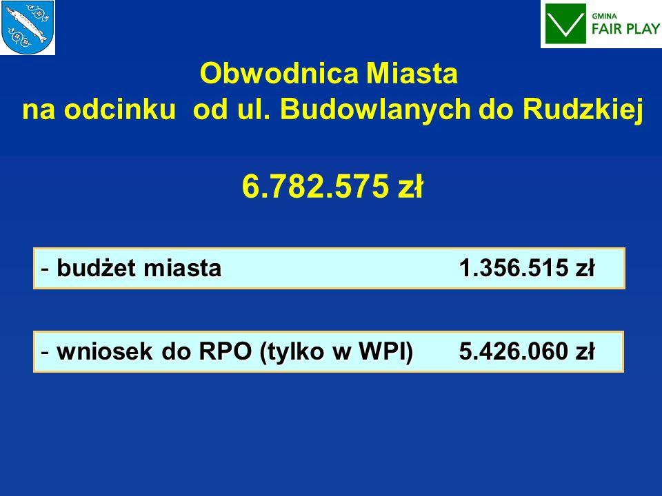 Obwodnica Miasta na odcinku od ul. Budowlanych do Rudzkiej 6.782.575 zł - budżet miasta 1.356.515 zł - wniosek do RPO (tylko w WPI) 5.426.060 zł