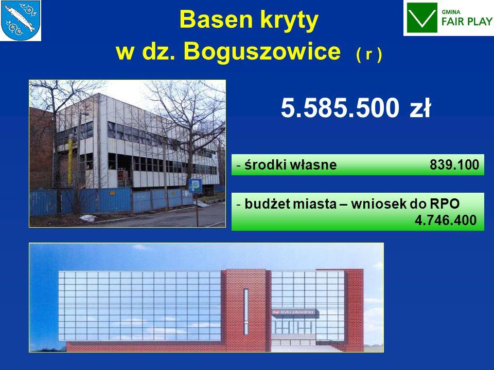 Basen kryty w dz. Boguszowice ( r ) - środki własne 839.100 - budżet miasta – wniosek do RPO 4.746.400 5.585.500 zł