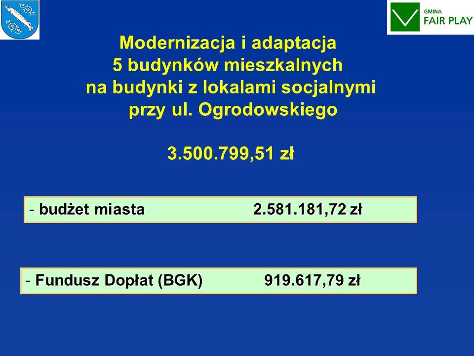 Modernizacja i adaptacja 5 budynków mieszkalnych na budynki z lokalami socjalnymi przy ul. Ogrodowskiego 3.500.799,51 zł - budżet miasta 2.581.181,72
