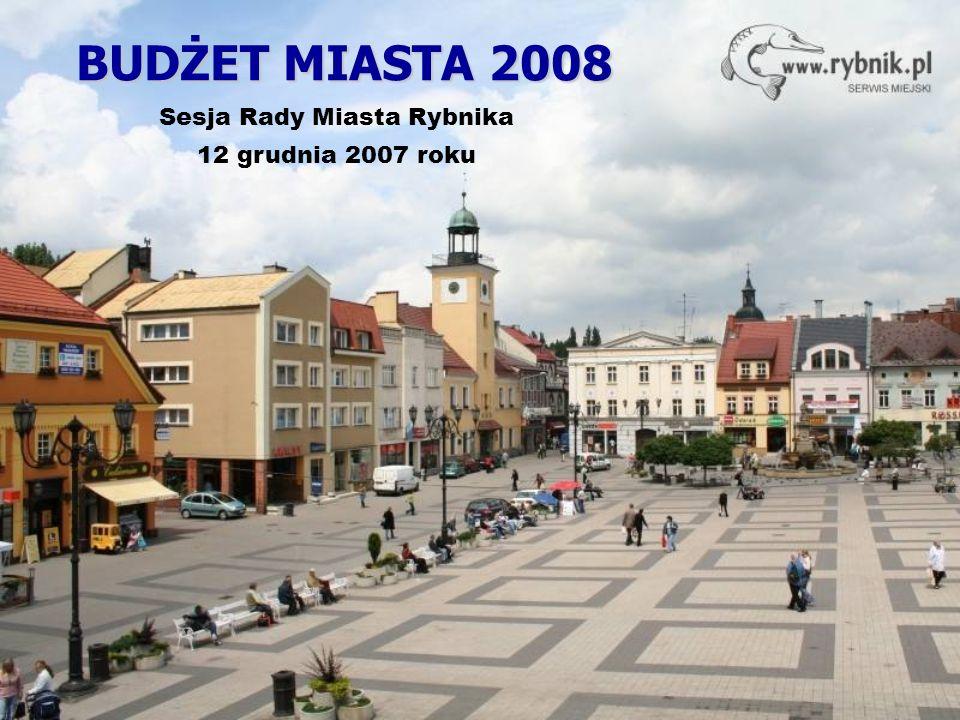 BUDŻET MIASTA 2008 Sesja Rady Miasta Rybnika 12 grudnia 2007 roku