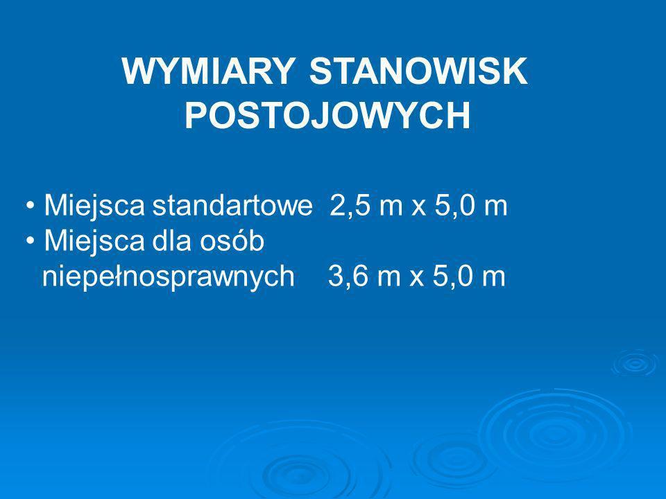 WYMIARY STANOWISK POSTOJOWYCH Miejsca standartowe 2,5 m x 5,0 m Miejsca dla osób niepełnosprawnych 3,6 m x 5,0 m