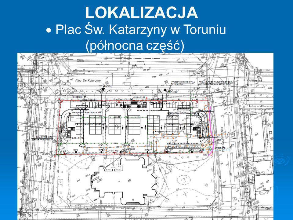 Budowa podziemnego parkingu zlokalizowanego na dwóch poziomach - płycie dolnej (poziom -1) całkowicie zagłębionej w gruncie - płycie górnej (poziom 0) występującej w poziomie istniejącego terenu INWESTYCJA