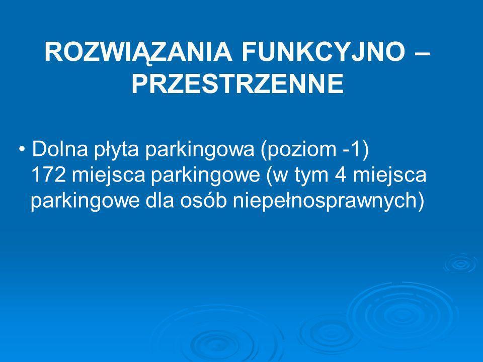ROZWIĄZANIA FUNKCYJNO – PRZESTRZENNE Dolna płyta parkingowa (poziom -1) 172 miejsca parkingowe (w tym 4 miejsca parkingowe dla osób niepełnosprawnych)