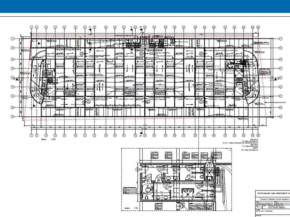 WENTYLACJA Poziom dolny (poziom -1) na terenie parkingu wentylacja mechaniczna Poziom dolny (poziom -1) w sanitariatach wentylacja grawitacyjna