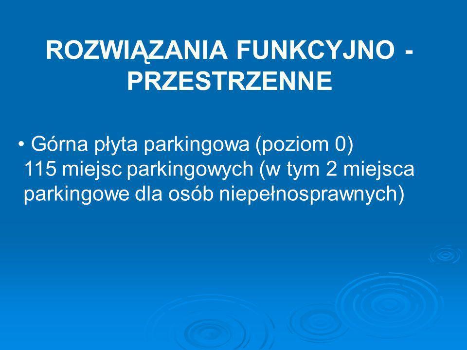 ROZWIĄZANIA FUNKCYJNO - PRZESTRZENNE Górna płyta parkingowa (poziom 0) 115 miejsc parkingowych (w tym 2 miejsca parkingowe dla osób niepełnosprawnych)