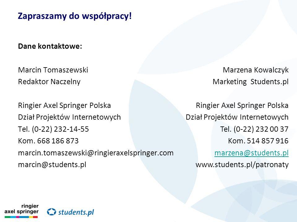 Dane kontaktowe: Marcin Tomaszewski Redaktor Naczelny Ringier Axel Springer Polska Dział Projektów Internetowych Tel. (0-22) 232-14-55 Kom. 668 186 87
