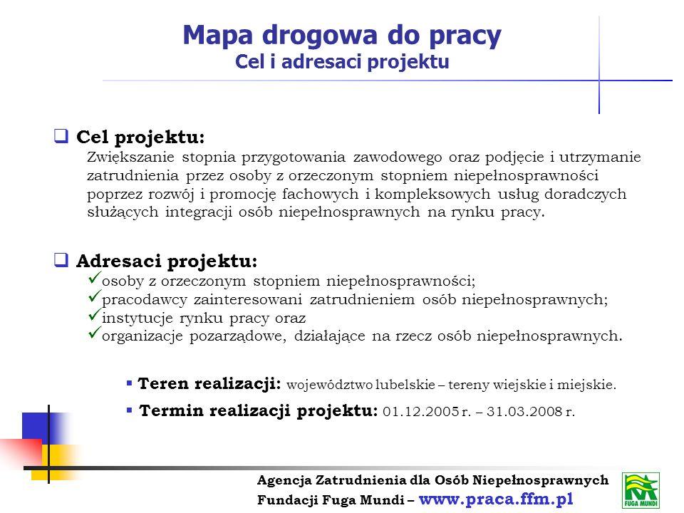 Agencja Zatrudnienia dla Osób Niepełnosprawnych Fundacji Fuga Mundi – www.praca.ffm.pl Cel projektu: Zwiększanie stopnia przygotowania zawodowego oraz