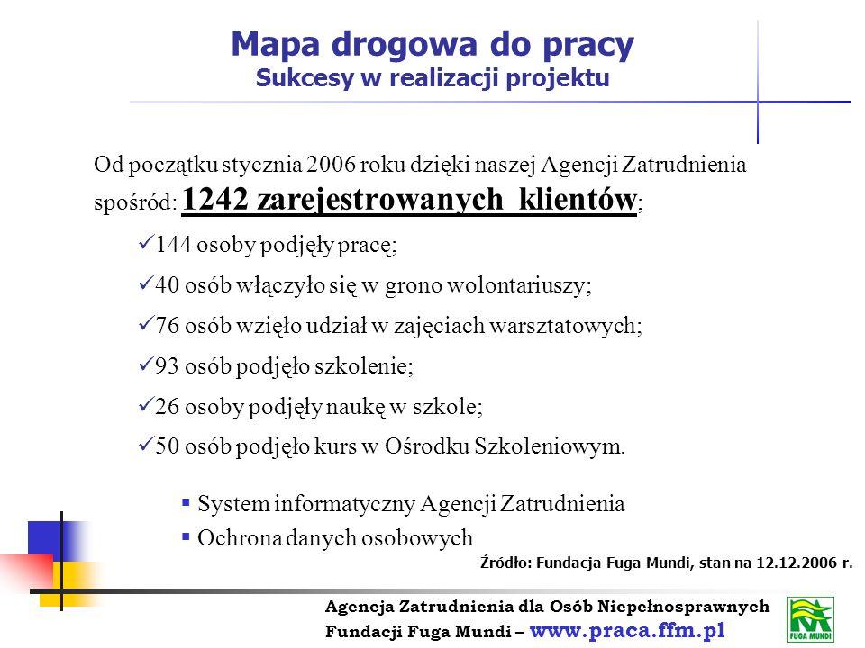 Agencja Zatrudnienia dla Osób Niepełnosprawnych Fundacji Fuga Mundi – www.praca.ffm.pl Od początku stycznia 2006 roku dzięki naszej Agencji Zatrudnien