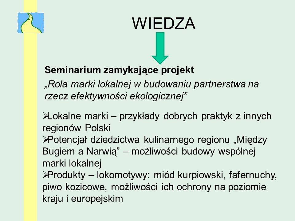 WIEDZA Seminarium zamykające projekt Rola marki lokalnej w budowaniu partnerstwa na rzecz efektywności ekologicznej Lokalne marki – przykłady dobrych