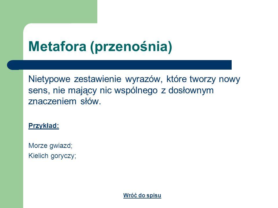 Metafora (przenośnia) Nietypowe zestawienie wyrazów, które tworzy nowy sens, nie mający nic wspólnego z dosłownym znaczeniem słów. Przykład: Morze gwi