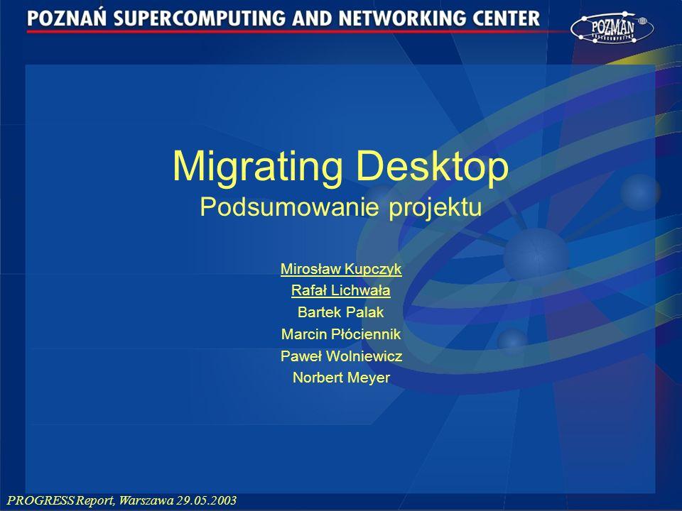 PROGRESS Report, Warszawa 29.05.2003 Migrating Desktop Podsumowanie projektu Mirosław Kupczyk Rafał Lichwała Bartek Palak Marcin Płóciennik Paweł Woln