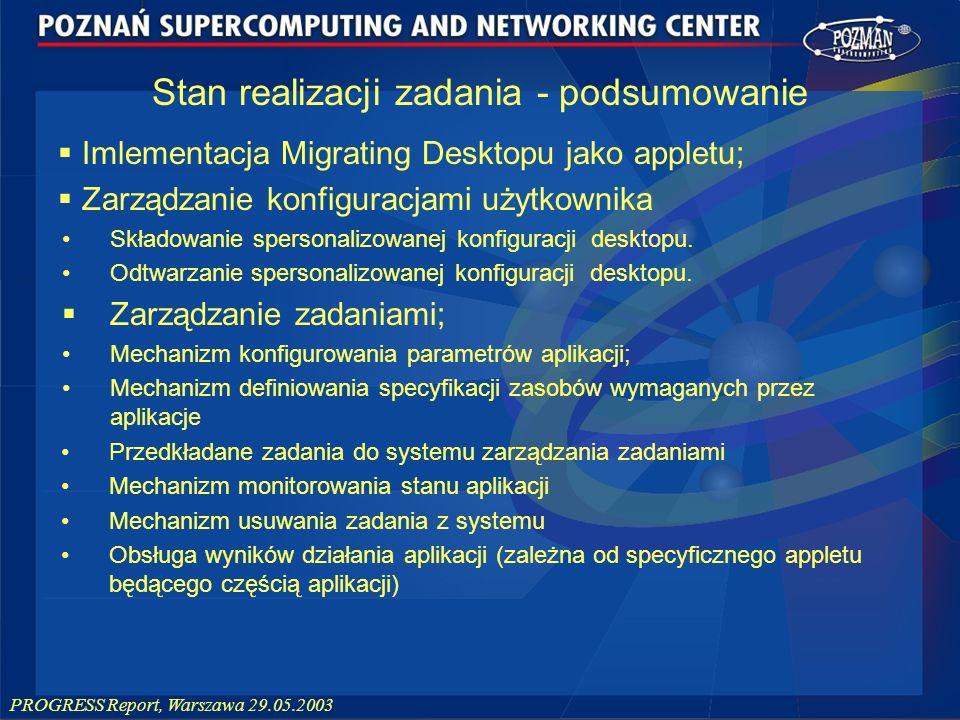 PROGRESS Report, Warszawa 29.05.2003 Imlementacja Migrating Desktopu jako appletu; Zarządzanie konfiguracjami użytkownika Składowanie spersonalizowane