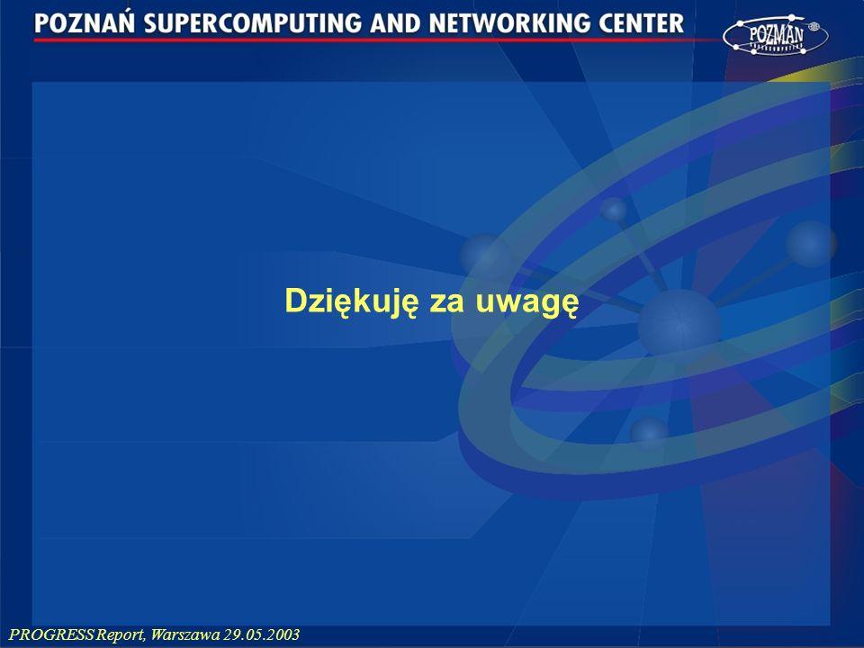 PROGRESS Report, Warszawa 29.05.2003 Dziękuję za uwagę