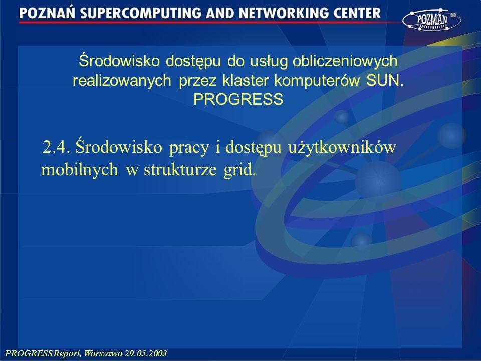 PROGRESS Report, Warszawa 29.05.2003 Środowisko dostępu do usług obliczeniowych realizowanych przez klaster komputerów SUN. PROGRESS 2.4. Środowisko p
