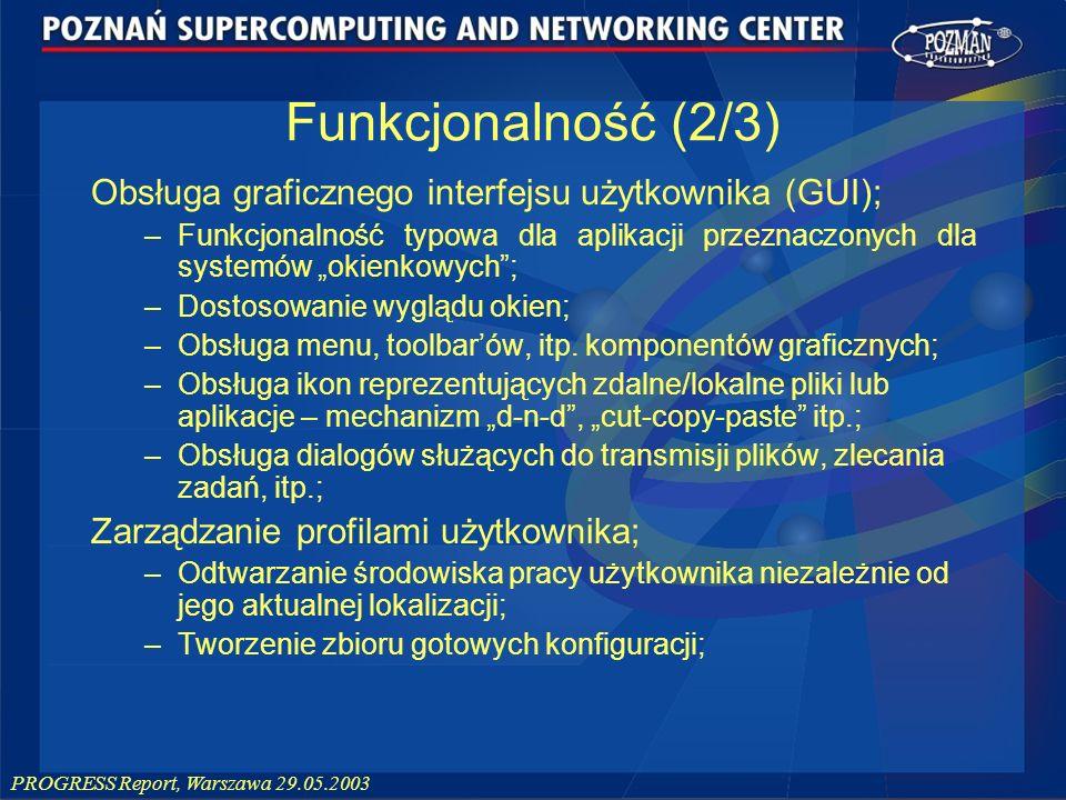 PROGRESS Report, Warszawa 29.05.2003 Obsługa graficznego interfejsu użytkownika (GUI); –Funkcjonalność typowa dla aplikacji przeznaczonych dla systemó