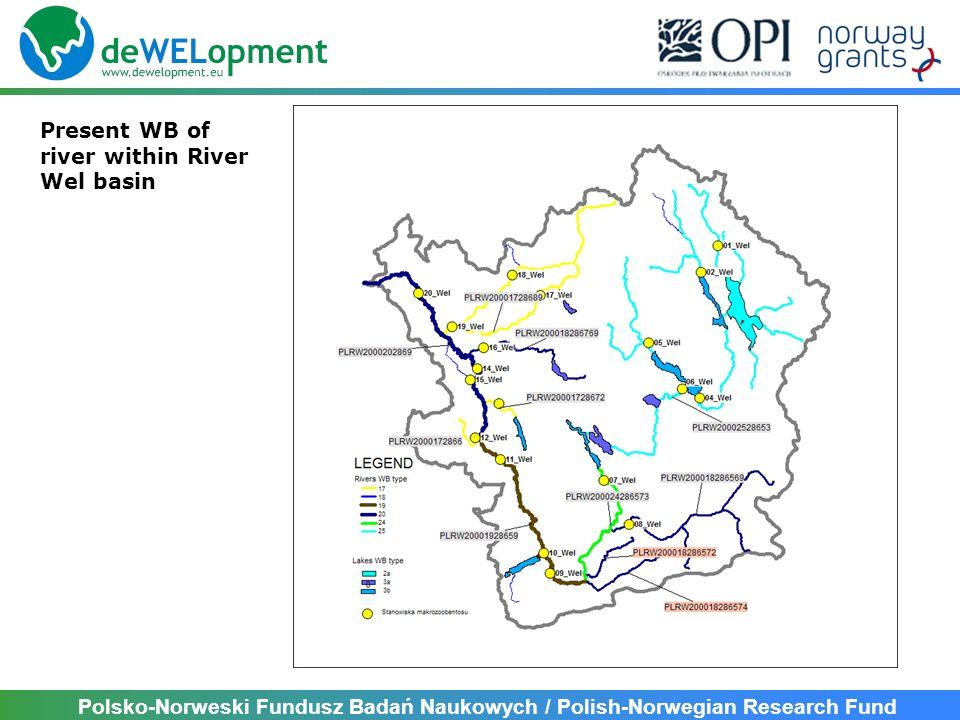 Polsko-Norweski Fundusz Badań Naukowych / Polish-Norwegian Research Fund Present WB of river within River Wel basin NoWB NameWB CodeT.L [km]A [km 2 ] 1Wel do jez.